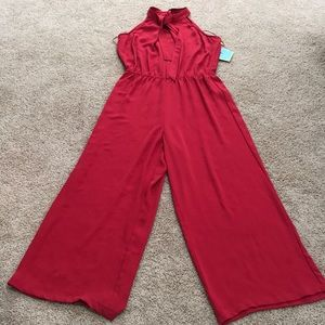 NWT! CeCe red size 12, jumpsuit with neck tie